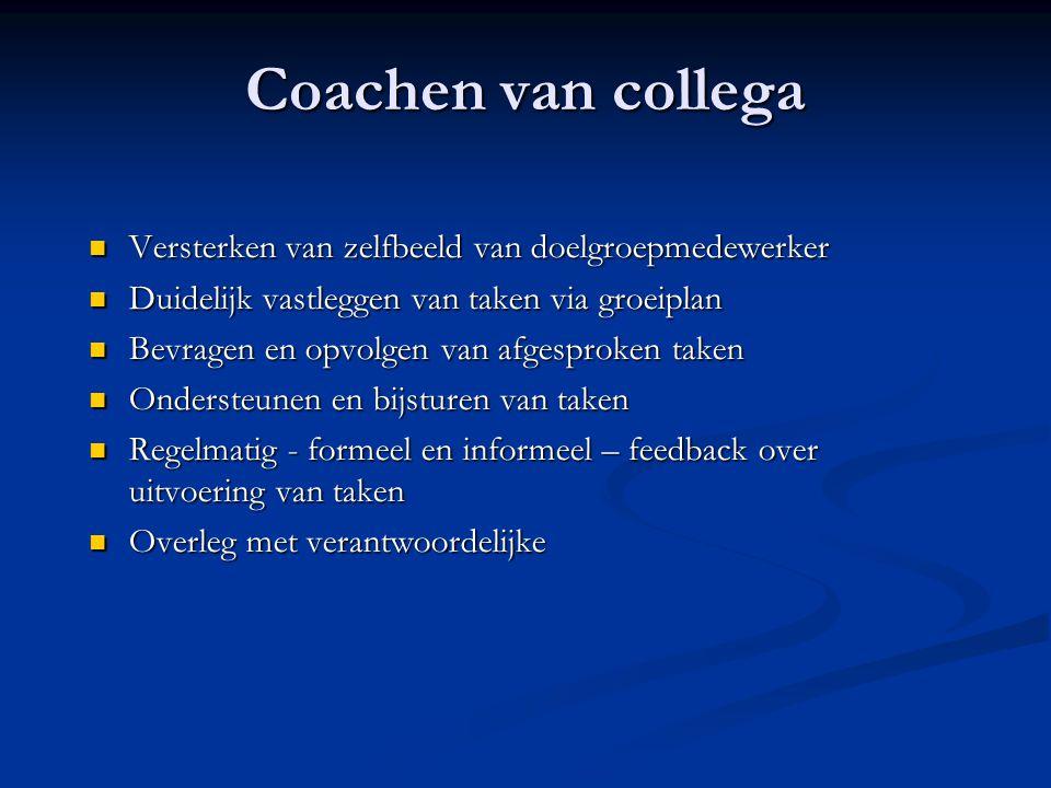 Coachen van collega Versterken van zelfbeeld van doelgroepmedewerker Versterken van zelfbeeld van doelgroepmedewerker Duidelijk vastleggen van taken v