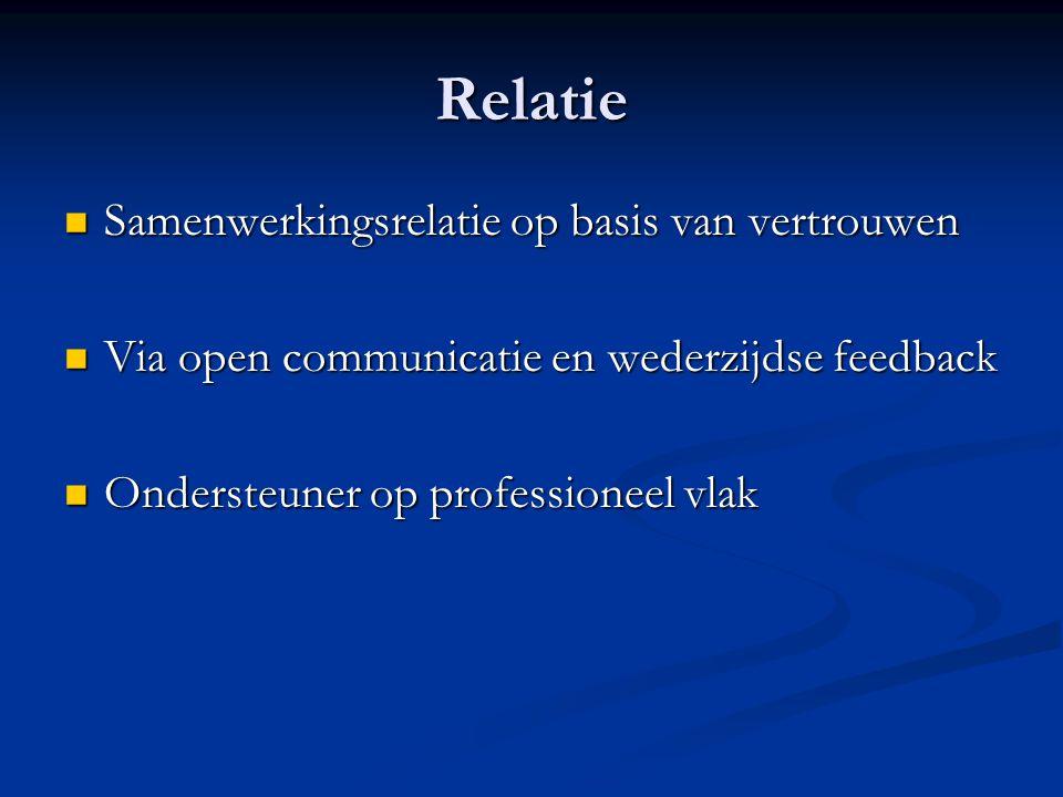 Relatie Samenwerkingsrelatie op basis van vertrouwen Samenwerkingsrelatie op basis van vertrouwen Via open communicatie en wederzijdse feedback Via op