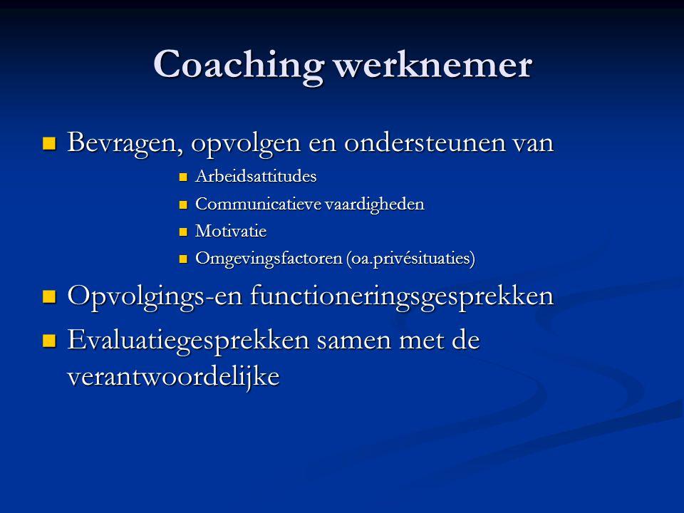Coaching werknemer Bevragen, opvolgen en ondersteunen van Bevragen, opvolgen en ondersteunen van Arbeidsattitudes Arbeidsattitudes Communicatieve vaar