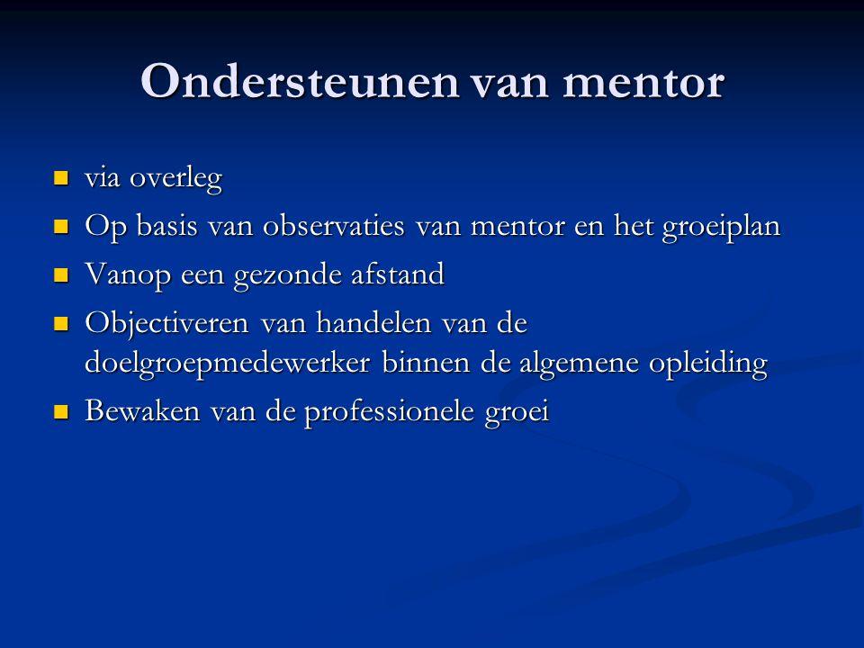 Ondersteunen van mentor via overleg via overleg Op basis van observaties van mentor en het groeiplan Op basis van observaties van mentor en het groeip