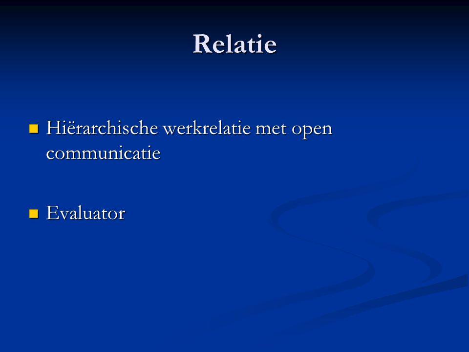 Relatie Hiërarchische werkrelatie met open communicatie Hiërarchische werkrelatie met open communicatie Evaluator Evaluator