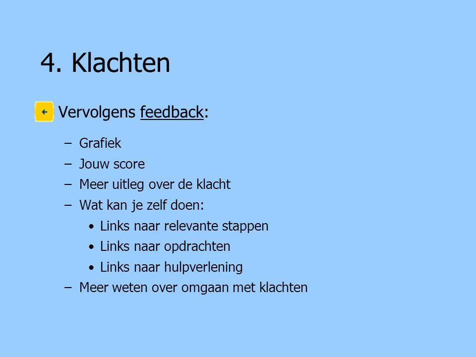 4. Klachten Vervolgens feedback: –Grafiek –Jouw score –Meer uitleg over de klacht –Wat kan je zelf doen: Links naar relevante stappen Links naar opdra