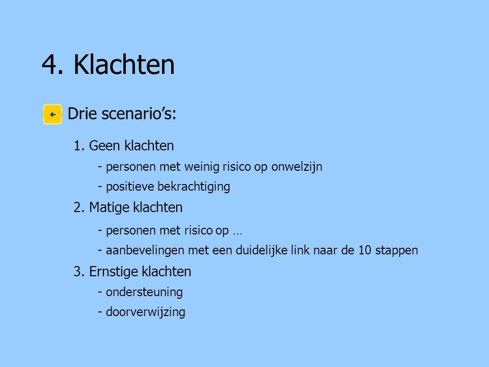 4.Klachten Drie scenario's: 1.