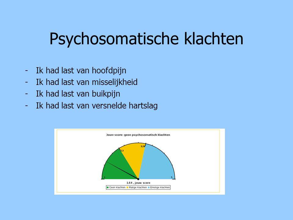 Psychosomatische klachten -Ik had last van hoofdpijn -Ik had last van misselijkheid -Ik had last van buikpijn -Ik had last van versnelde hartslag
