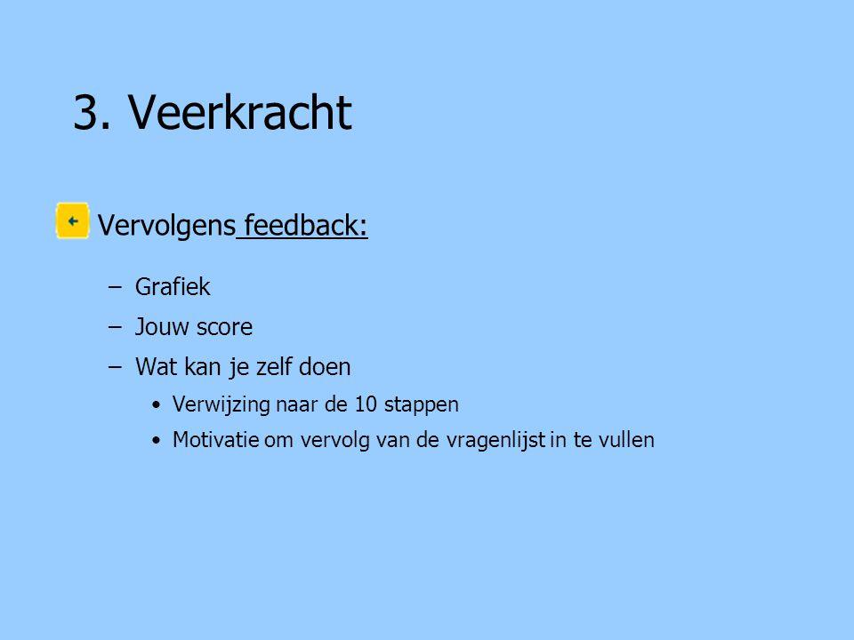 3. Veerkracht Vervolgens feedback: –Grafiek –Jouw score –Wat kan je zelf doen Verwijzing naar de 10 stappen Motivatie om vervolg van de vragenlijst in