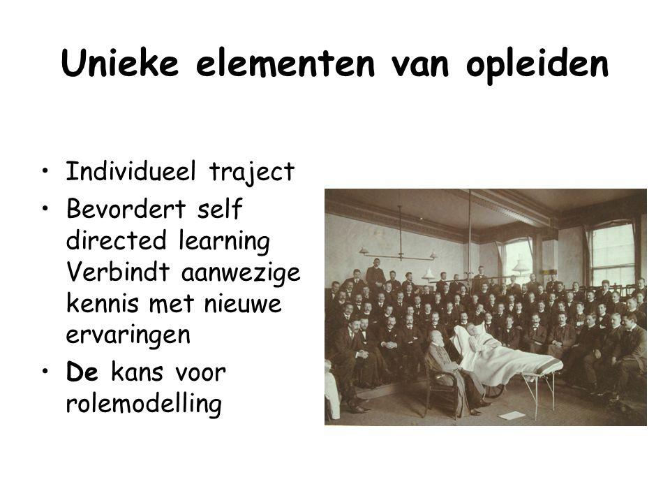 Unieke elementen van opleiden Individueel traject Bevordert self directed learning Verbindt aanwezige kennis met nieuwe ervaringen De kans voor rolemo