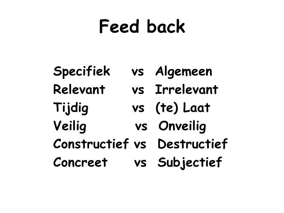 Feed back Specifiek vs Algemeen Relevant vs Irrelevant Tijdig vs (te) Laat Veilig vs Onveilig Constructief vs Destructief Concreet vs Subjectief