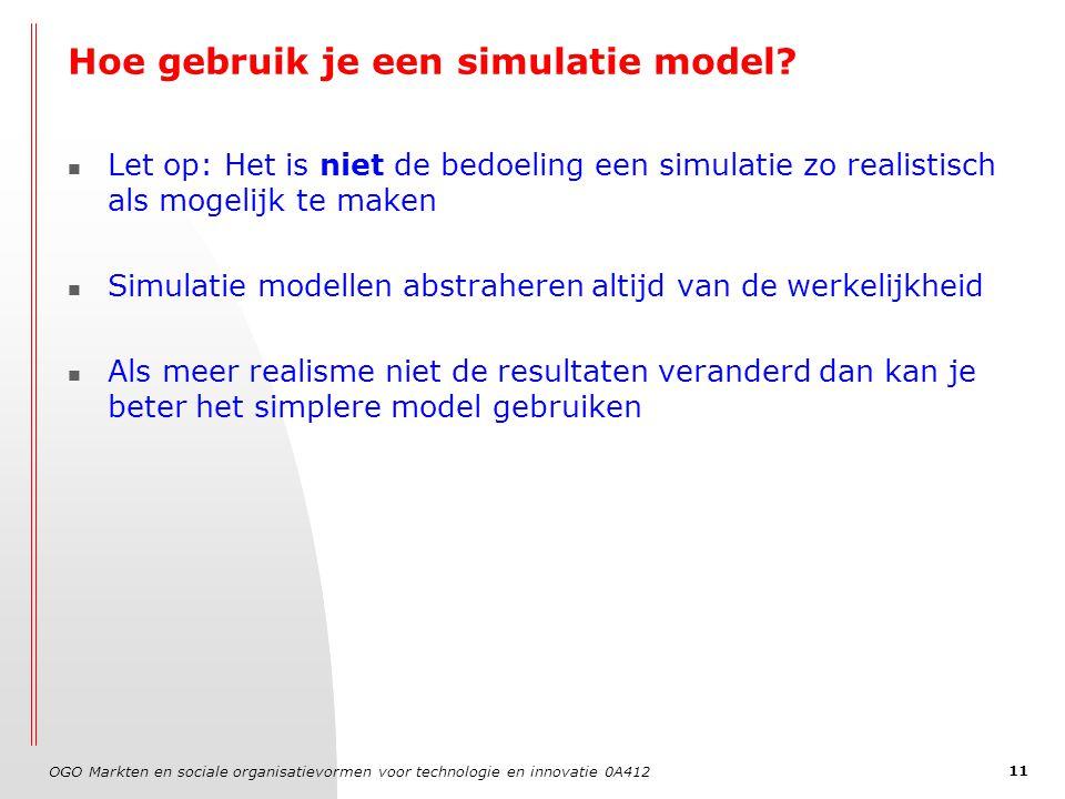 OGO Markten en sociale organisatievormen voor technologie en innovatie 0A412 11 Hoe gebruik je een simulatie model? Let op: Het is niet de bedoeling e
