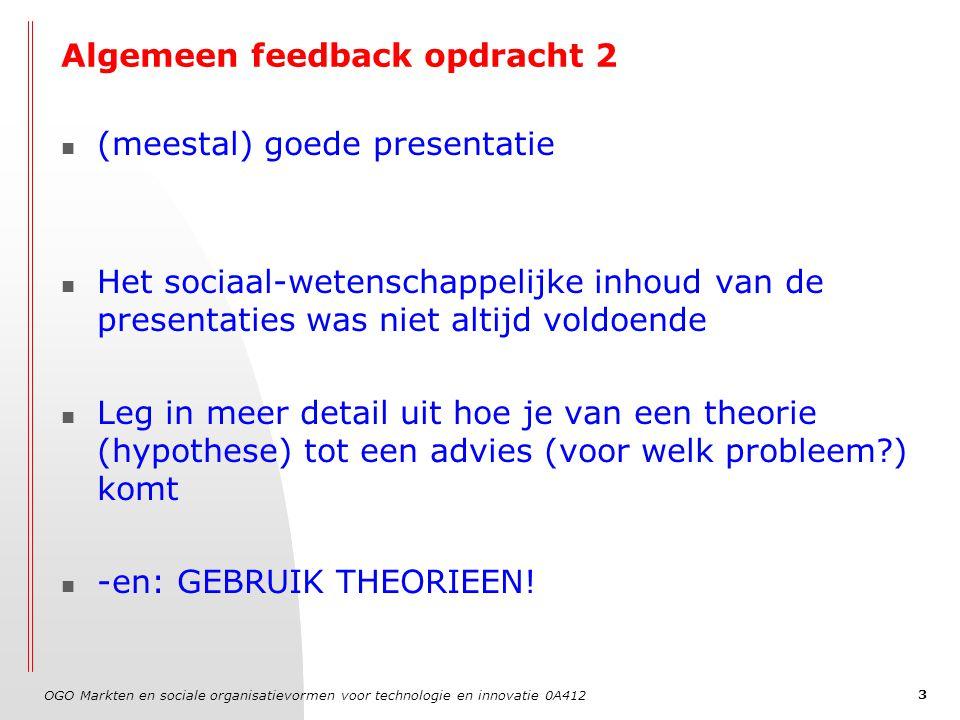 OGO Markten en sociale organisatievormen voor technologie en innovatie 0A412 3 Algemeen feedback opdracht 2 (meestal) goede presentatie Het sociaal-we