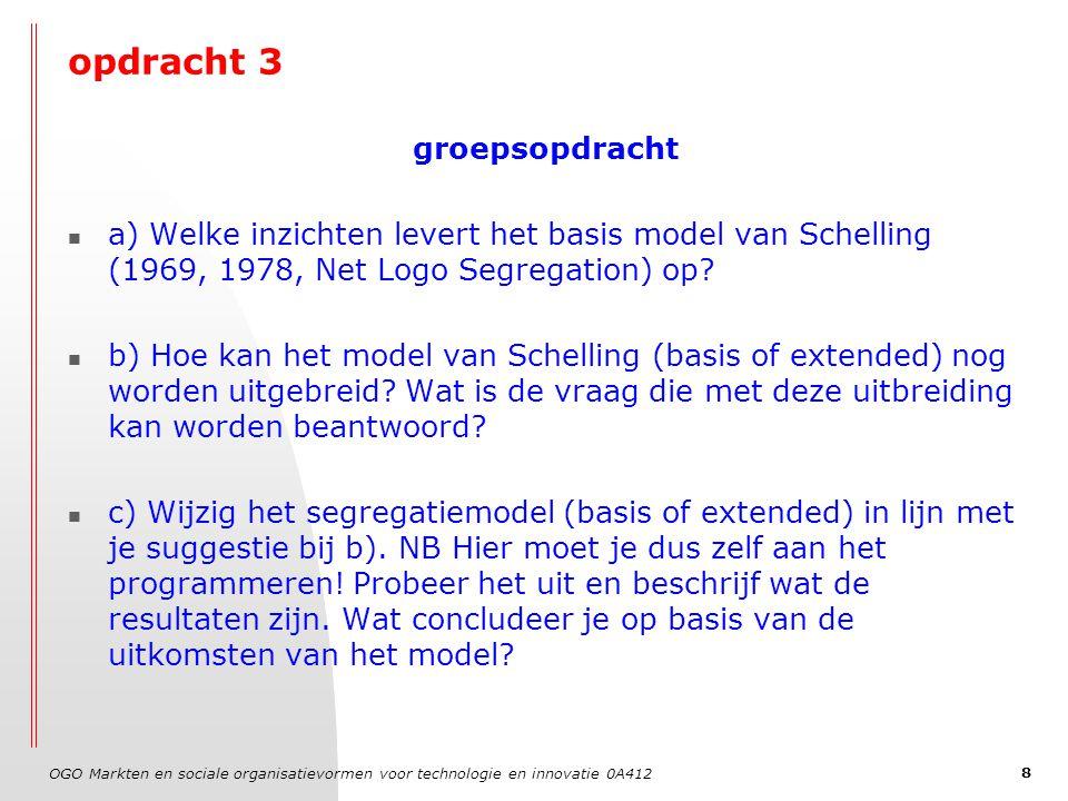 OGO Markten en sociale organisatievormen voor technologie en innovatie 0A412 8 opdracht 3 groepsopdracht a) Welke inzichten levert het basis model van