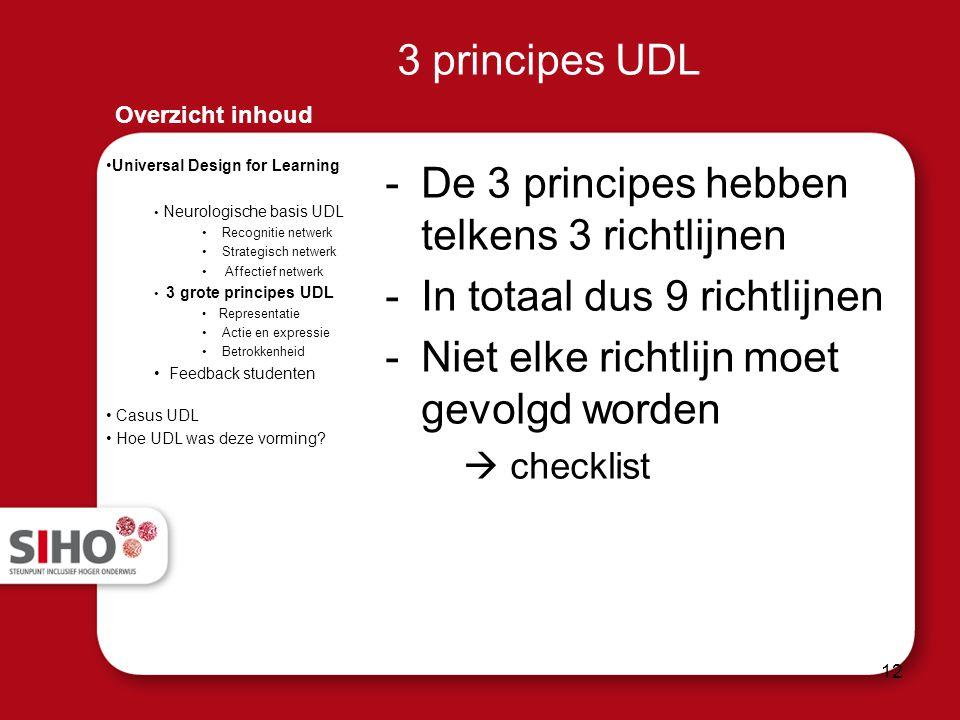3 principes UDL -De 3 principes hebben telkens 3 richtlijnen -In totaal dus 9 richtlijnen -Niet elke richtlijn moet gevolgd worden  checklist Overzic