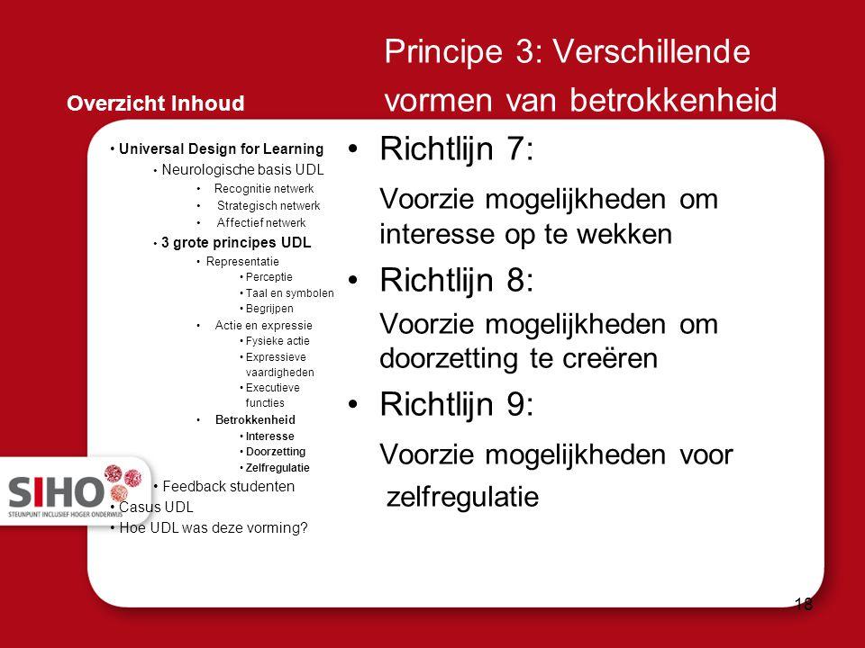 Principe 3: Verschillende vormen van betrokkenheid Richtlijn 7: Voorzie mogelijkheden om interesse op te wekken Richtlijn 8: Voorzie mogelijkheden om