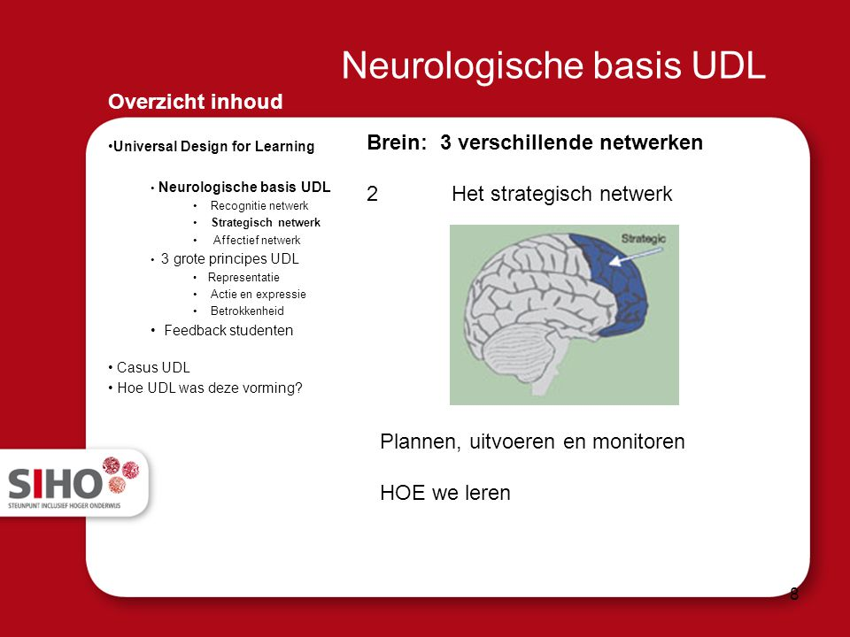 Overzicht inhoud Universal Design for Learning Neurologische basis UDL Recognitie netwerk Strategisch netwerk Affectief netwerk 3 grote principes UDL
