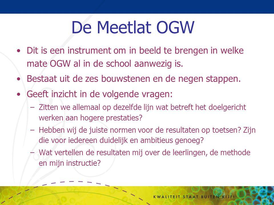 De Meetlat OGW Dit is een instrument om in beeld te brengen in welke mate OGW al in de school aanwezig is. Bestaat uit de zes bouwstenen en de negen s