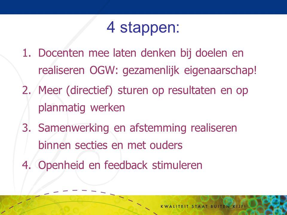 4 stappen: 1.Docenten mee laten denken bij doelen en realiseren OGW: gezamenlijk eigenaarschap! 2.Meer (directief) sturen op resultaten en op planmati