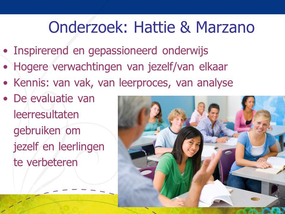 Onderzoek: Hattie & Marzano Inspirerend en gepassioneerd onderwijs Hogere verwachtingen van jezelf/van elkaar Kennis: van vak, van leerproces, van ana