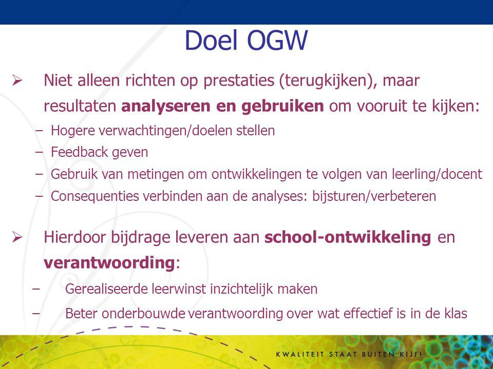 Doel OGW  Niet alleen richten op prestaties (terugkijken), maar resultaten analyseren en gebruiken om vooruit te kijken: –Hogere verwachtingen/doelen