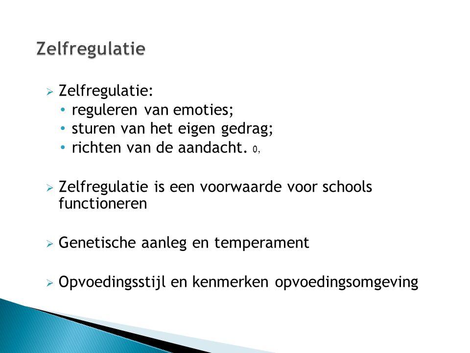  Zelfregulatie: reguleren van emoties; sturen van het eigen gedrag; richten van de aandacht. 0,  Zelfregulatie is een voorwaarde voor schools functi