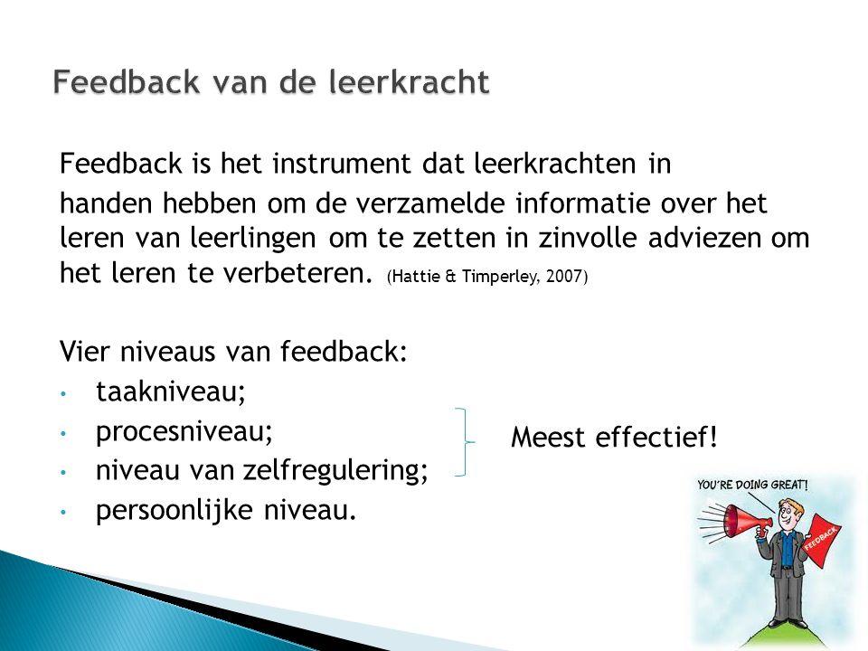 Feedback is het instrument dat leerkrachten in handen hebben om de verzamelde informatie over het leren van leerlingen om te zetten in zinvolle adviez