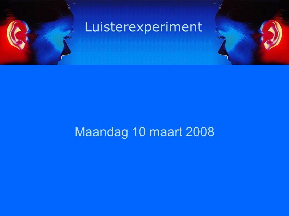 2 Inhoud Onderzoeksvraag – Researchquestion Feedback vorige week – Feedback last week Opzet luisterexperiment – Experimental design PRAAT