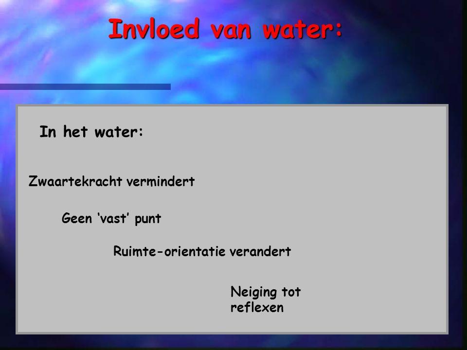 gbvtszw140905 Invloed van water: In het water: Zwaartekracht vermindert Geen 'vast' punt Ruimte-orientatie verandert Neiging tot reflexen