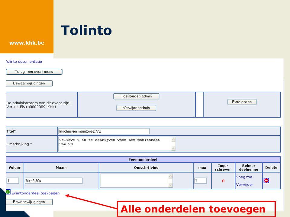 www.khk.be Tolinto Alle onderdelen toevoegen