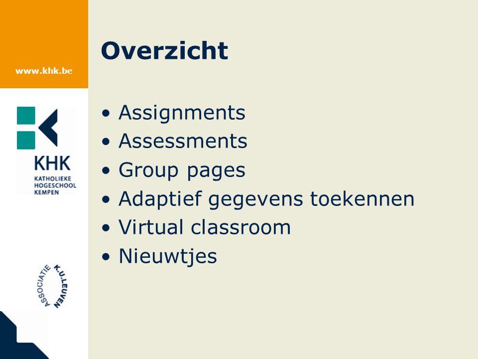 www.khk.be Assignments 1.Opdracht formuleren.2.Studenten werken opdracht uit.