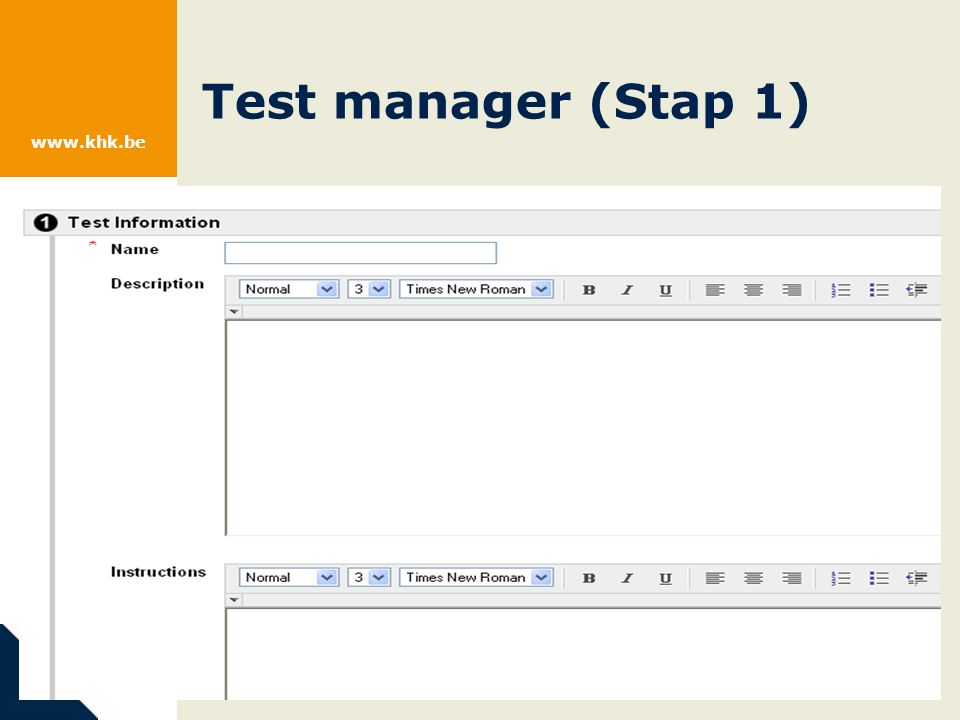 www.khk.be Test manager (Stap 1)