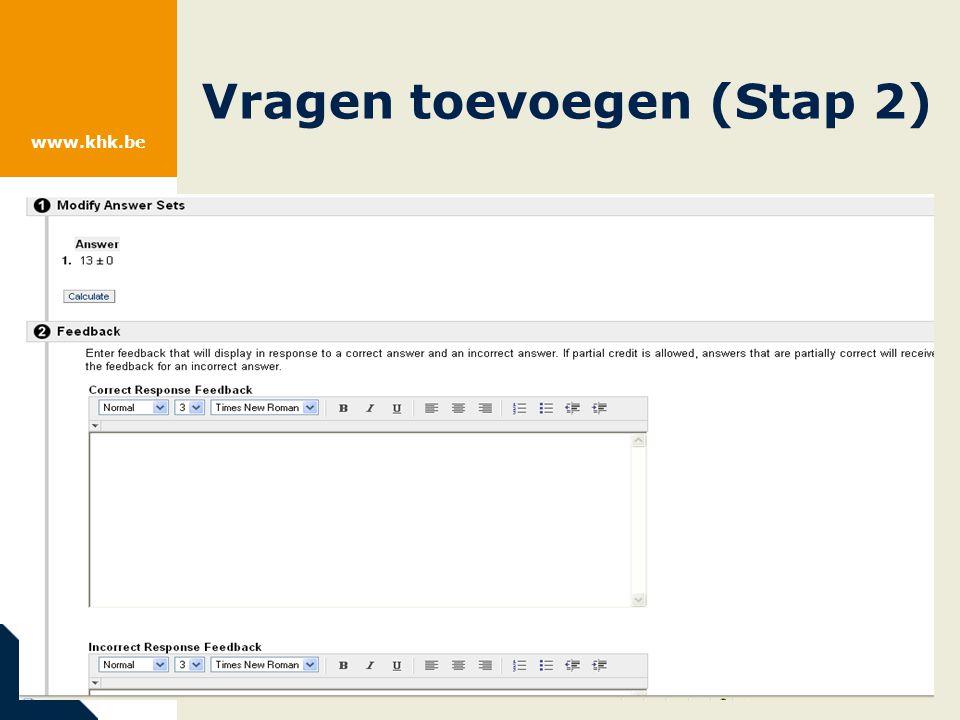 www.khk.be Vragen toevoegen (Stap 2)