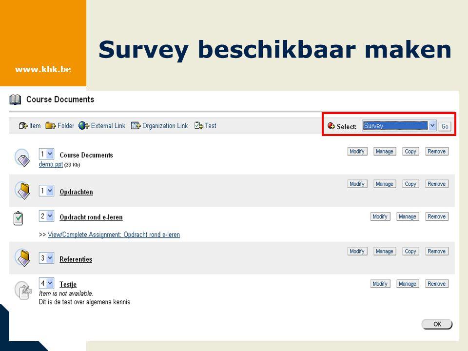 www.khk.be Survey beschikbaar maken