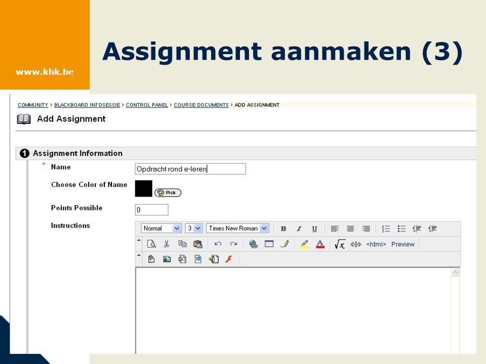 www.khk.be Assignment aanmaken (4)
