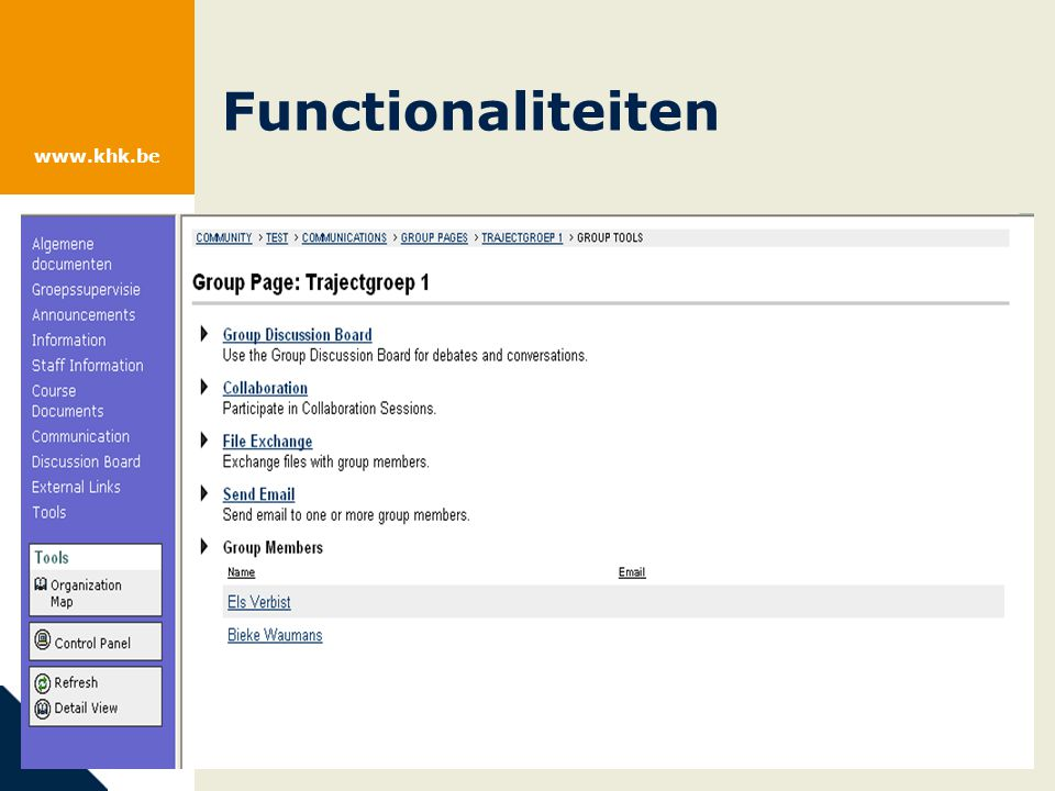 www.khk.be Functionaliteiten