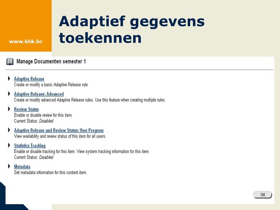 www.khk.be Adaptief gegevens toekennen