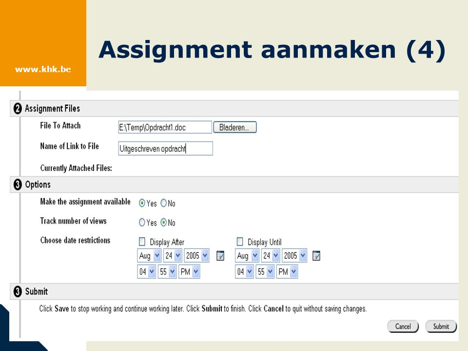 www.khk.be Assignment aanmaken (4)