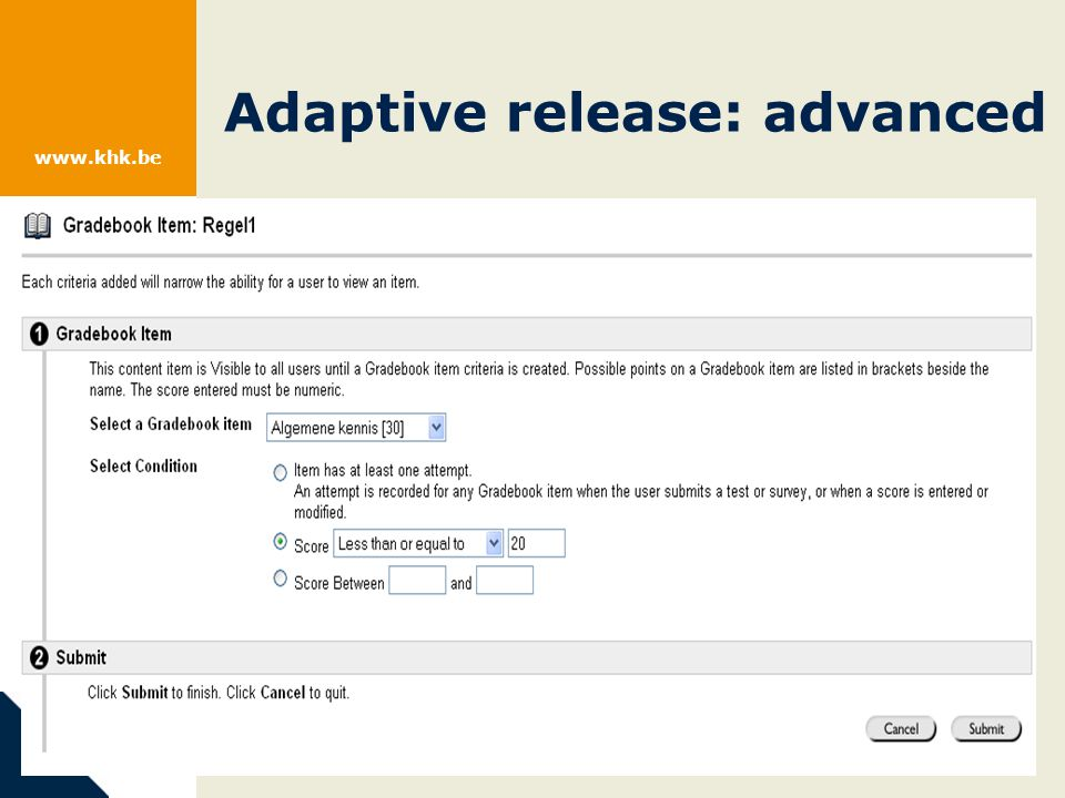 www.khk.be Adaptive release: advanced