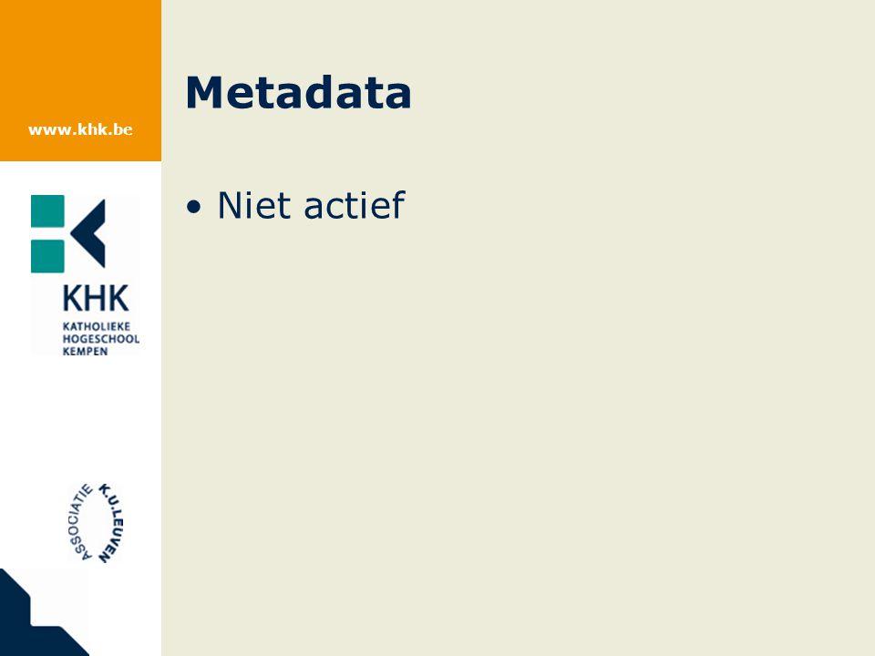 www.khk.be Metadata Niet actief