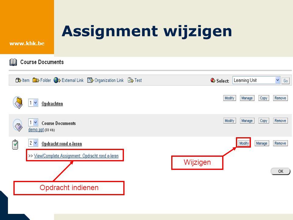www.khk.be Test wijzigen: inhoud + opties Test beschikbaar maken (Stap 3)