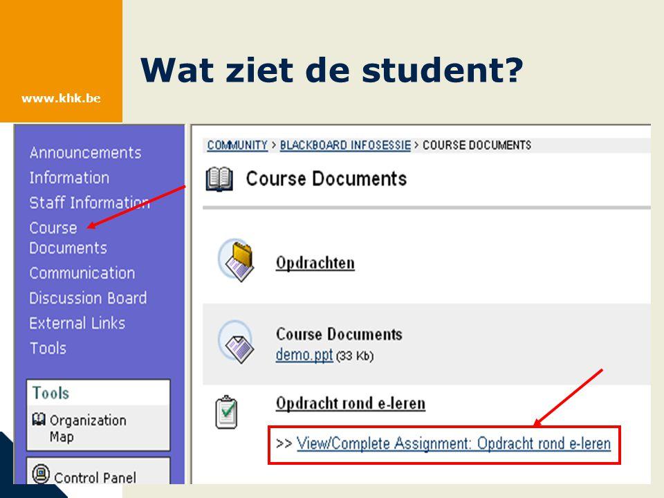 www.khk.be Wat ziet de student.