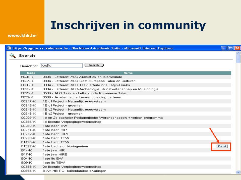 www.khk.be Inschrijven in community
