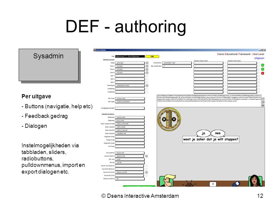 © Dsens Interactive Amsterdam12 Sysadmin DEF - authoring Per uitgave - Buttons (navigatie, help etc) - Feedback gedrag - Dialogen Instelmogelijkheden via tabbladen, sliders, radiobuttons, pulldownmenus, import en export dialogen etc.