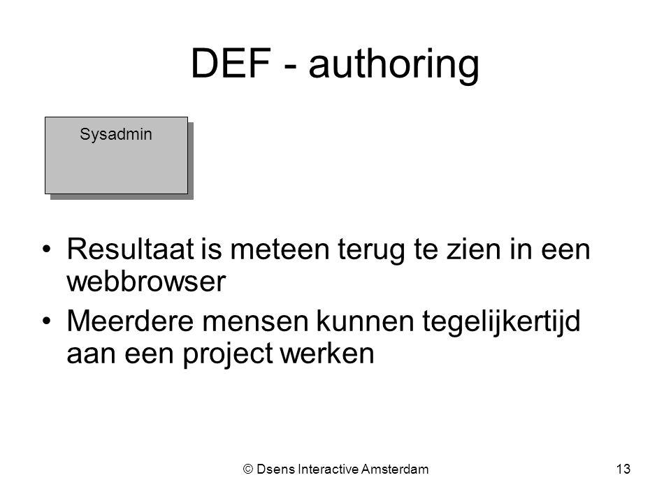 © Dsens Interactive Amsterdam13 Sysadmin DEF - authoring Resultaat is meteen terug te zien in een webbrowser Meerdere mensen kunnen tegelijkertijd aan een project werken