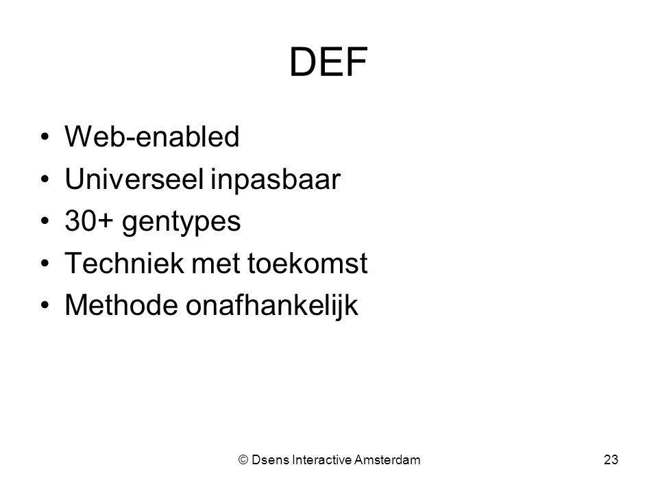 © Dsens Interactive Amsterdam23 DEF Web-enabled Universeel inpasbaar 30+ gentypes Techniek met toekomst Methode onafhankelijk