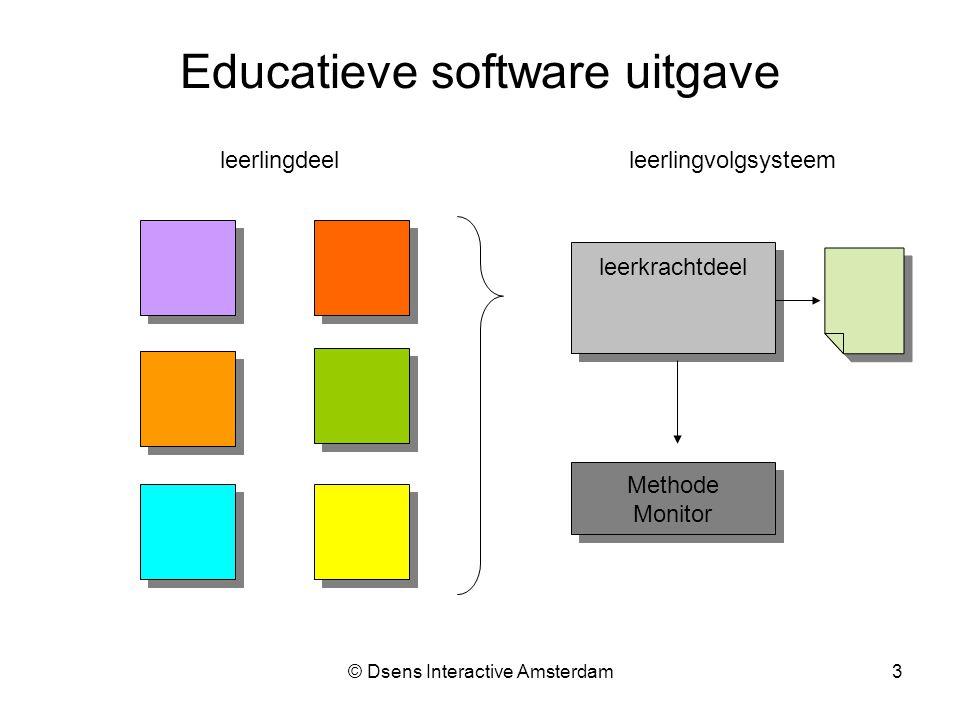 © Dsens Interactive Amsterdam3 Educatieve software uitgave leerlingdeel leerkrachtdeel leerlingvolgsysteem Methode Monitor