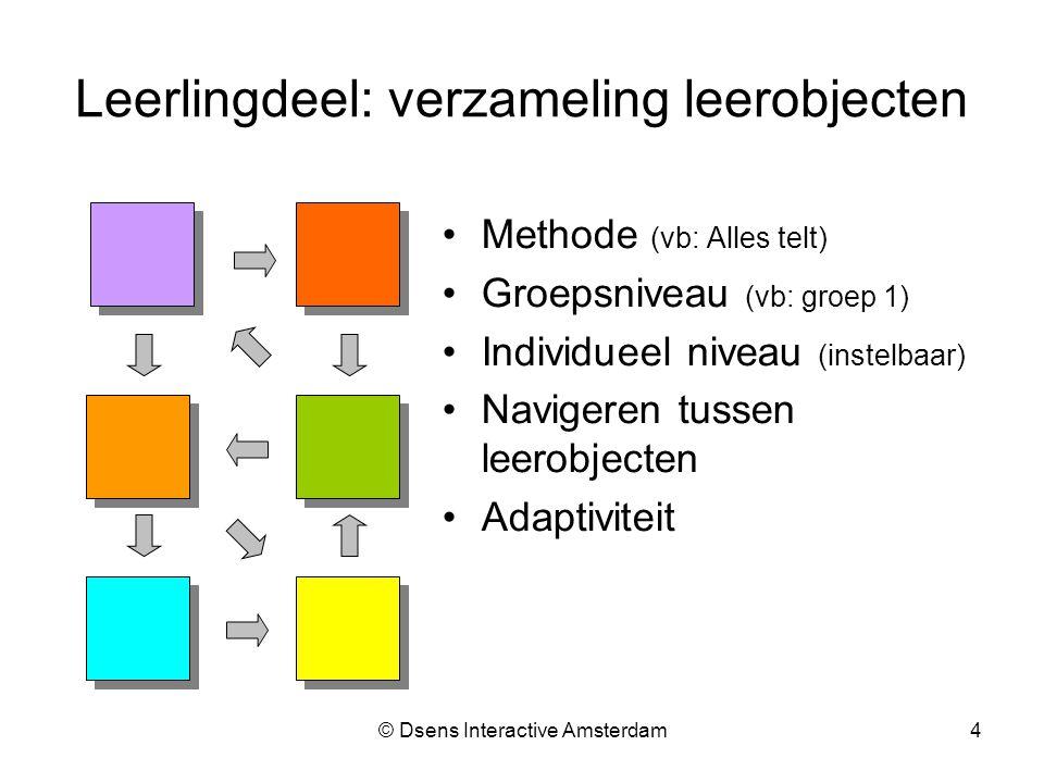 © Dsens Interactive Amsterdam4 Leerlingdeel: verzameling leerobjecten Methode (vb: Alles telt) Groepsniveau (vb: groep 1) Individueel niveau (instelbaar) Navigeren tussen leerobjecten Adaptiviteit