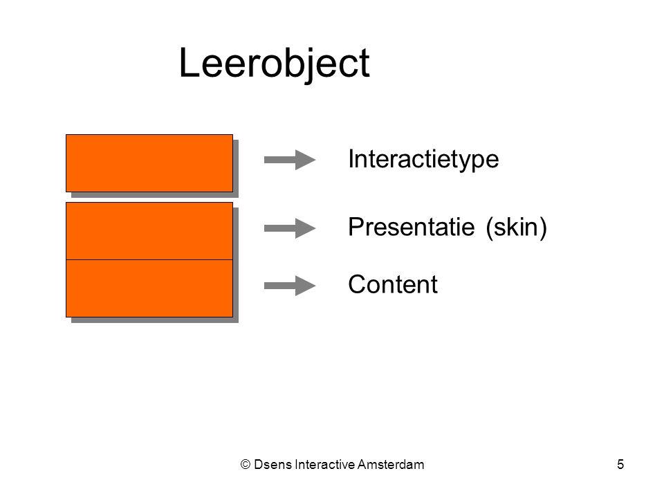 © Dsens Interactive Amsterdam5 Interactietype Presentatie (skin) Content Leerobject