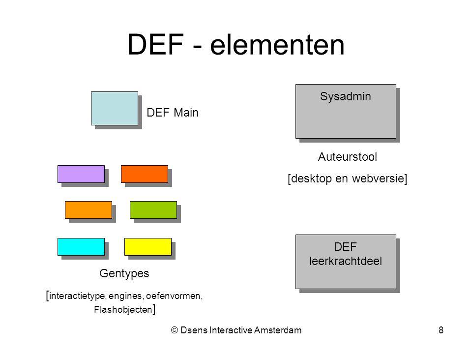 © Dsens Interactive Amsterdam8 Gentypes [ interactietype, engines, oefenvormen, Flashobjecten ] DEF leerkrachtdeel DEF leerkrachtdeel Sysadmin Auteurstool [desktop en webversie] DEF - elementen DEF Main