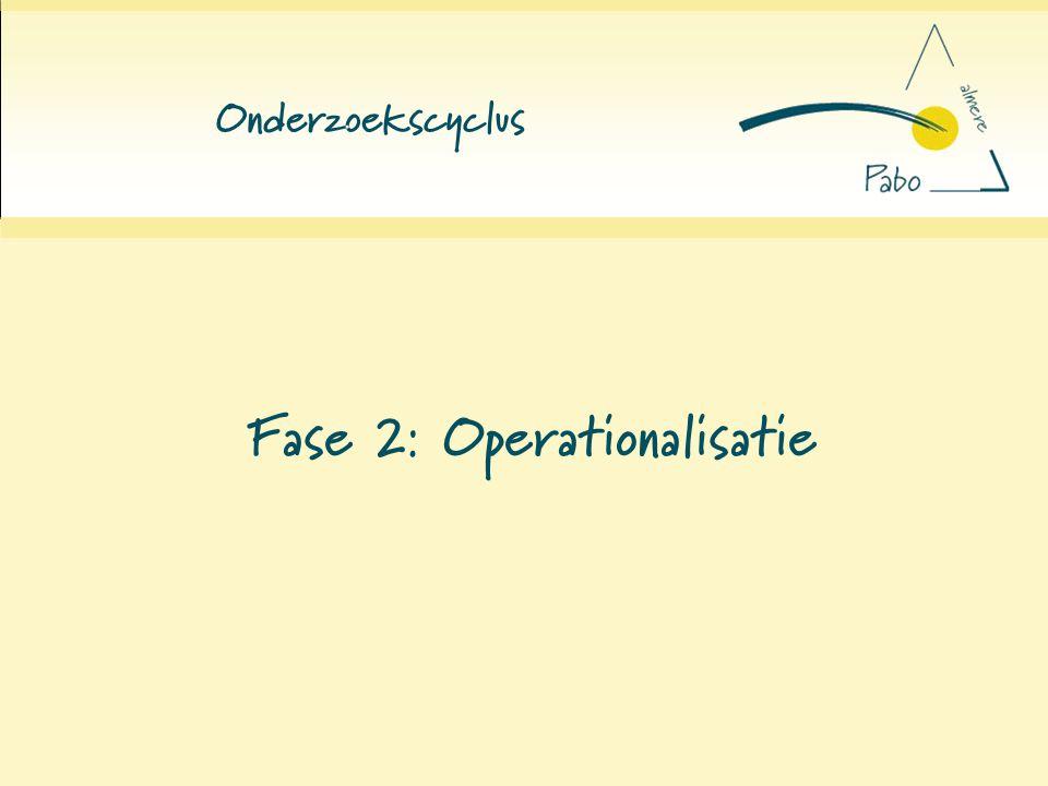 Onderzoekscyclus Fase 2: Operationalisatie