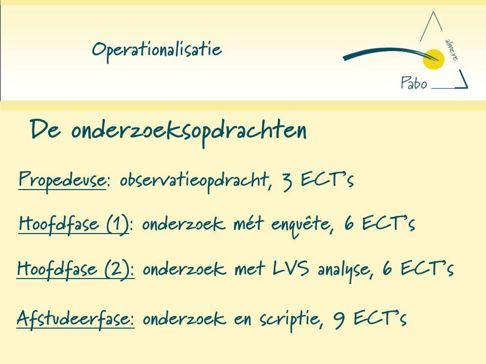 Operationalisatie De onderzoeksopdrachten Propedeuse: observatieopdracht, 3 ECT's Hoofdfase (1): onderzoek mét enquête, 6 ECT's Hoofdfase (2): onderzo