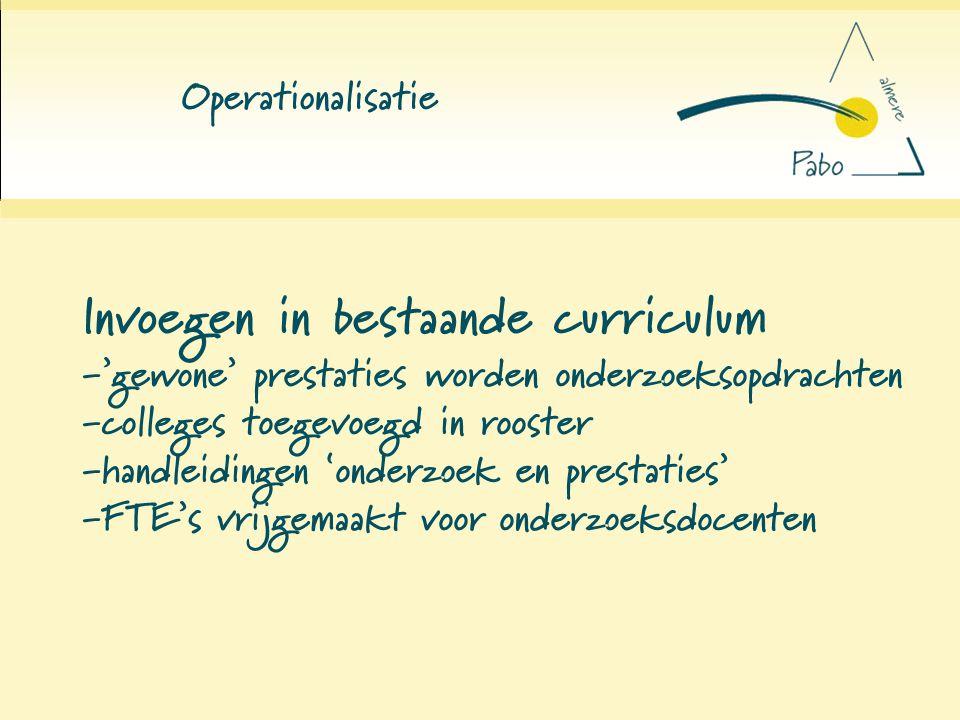 Operationalisatie Invoegen in bestaande curriculum -'gewone' prestaties worden onderzoeksopdrachten -colleges toegevoegd in rooster -handleidingen 'on