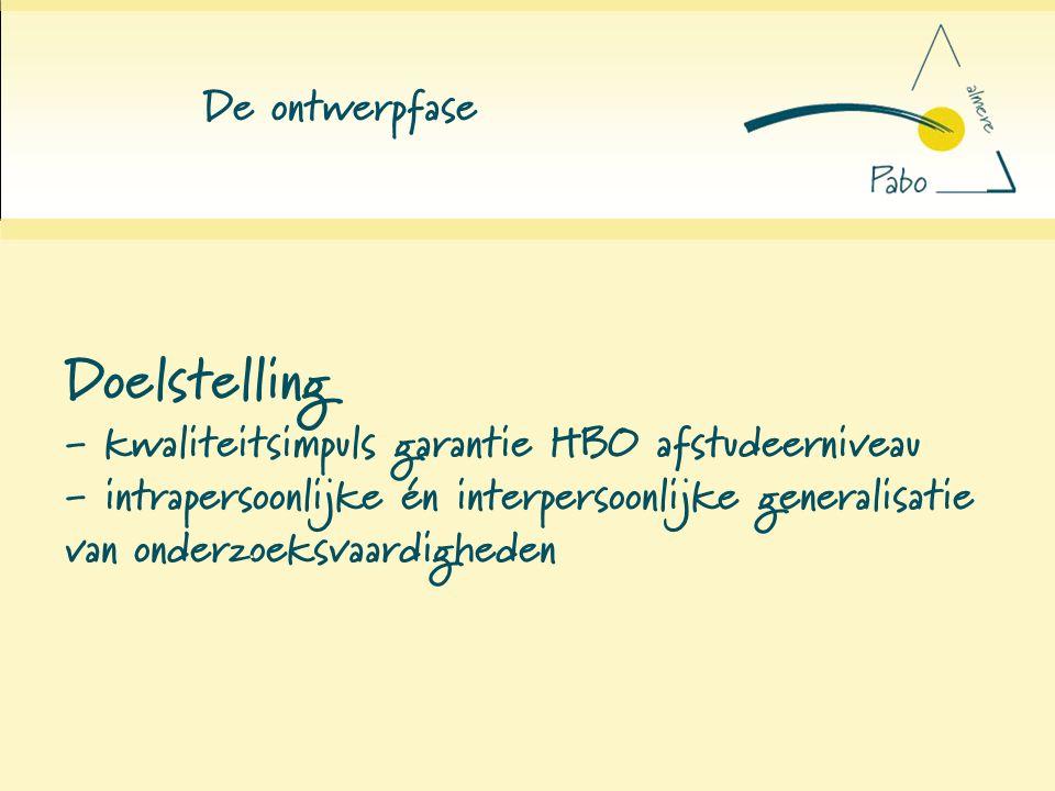 De ontwerpfase Doelstelling - kwaliteitsimpuls garantie HBO afstudeerniveau - intrapersoonlijke én interpersoonlijke generalisatie van onderzoeksvaard